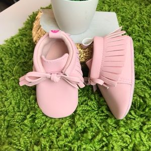 First Steps Pink Infant Moccasins Size 3-6 Months